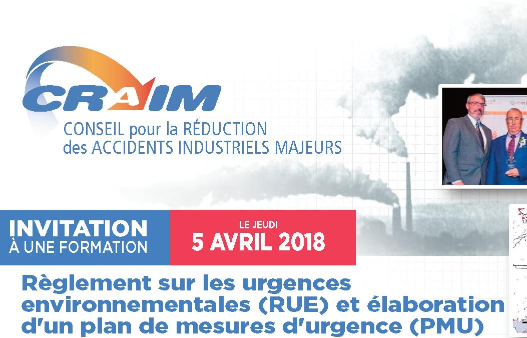 Formation sur le règlement sur les urgences environnementales et l'élaboration d'un plan d'urgence