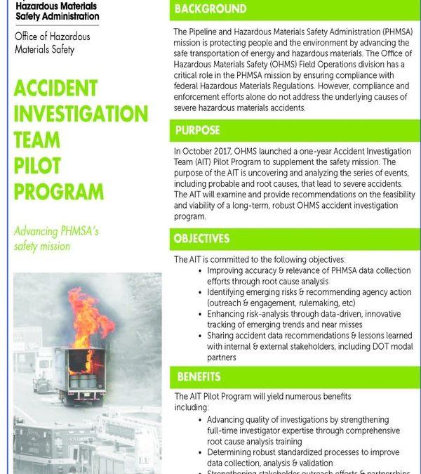 La PHMSA fait la promotion du programme pilote de l'équipe d'enquête sur les accidents liés aux matières dangereuses