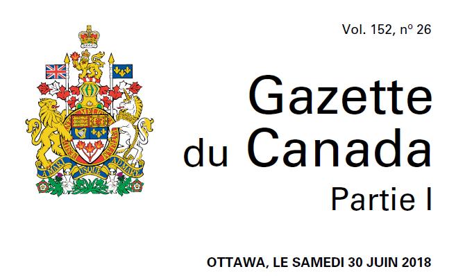 Publication du Règlement modifiant le Règlement sur le transport des marchandises dangereuses (plan d'intervention d'urgence)