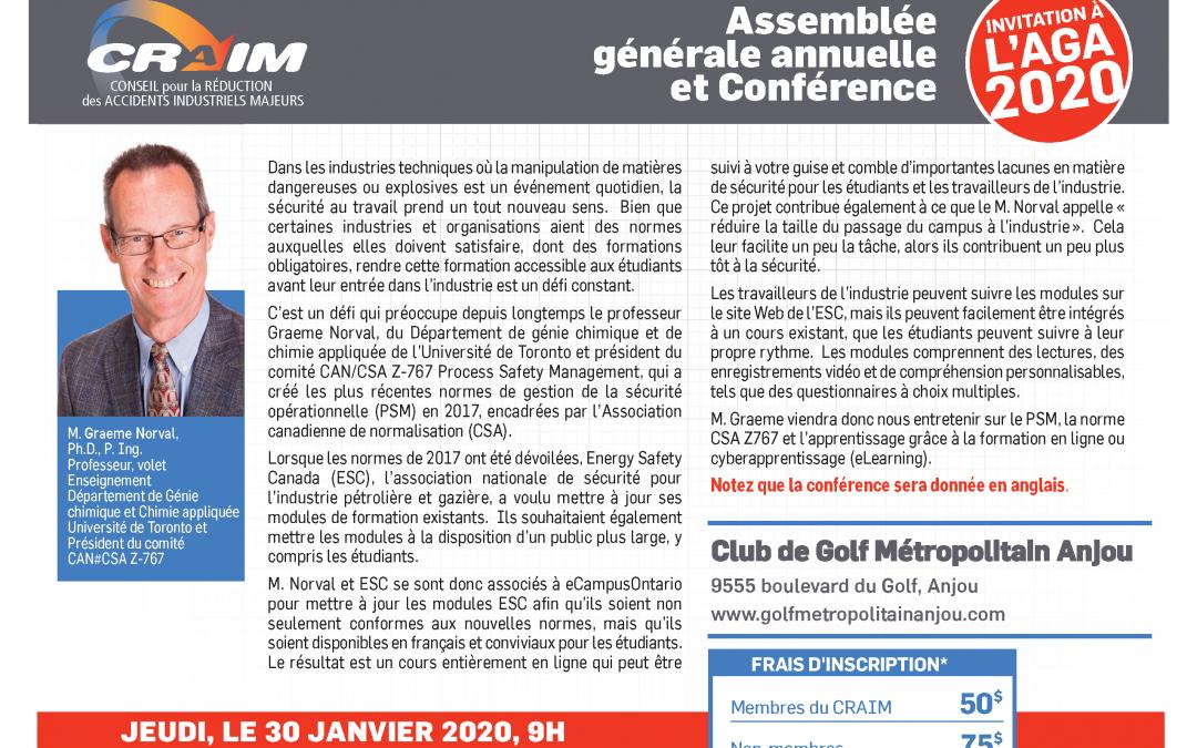 AGA 2019 ET CONFÉRENCE DU CRAIM – 30 janvier 2019